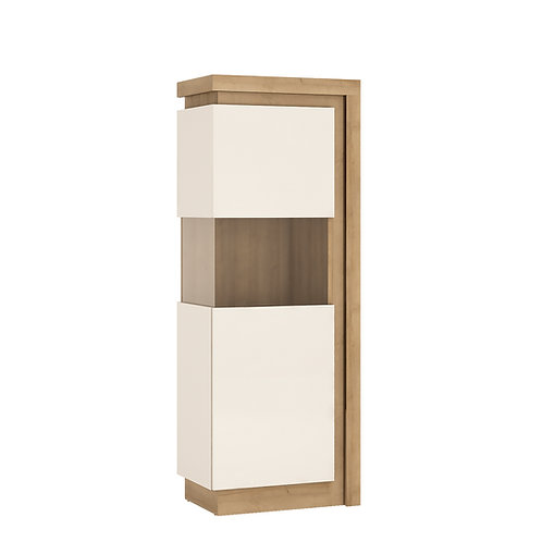 Lyon Narrow Left Handed Display Cabinet High In Riviera Oak/White High Gloss