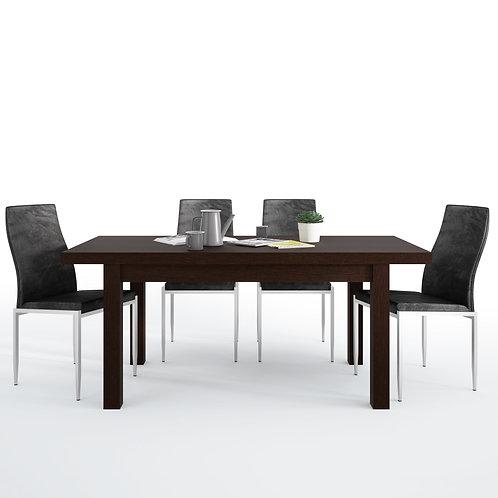 Pello Extending Dining Table In Dark Mahogany + 6 Milan High