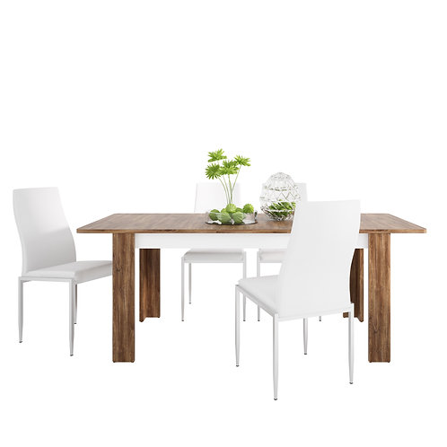 Toledo Extending Dining Table + 6 Milan High Back Chair Whit