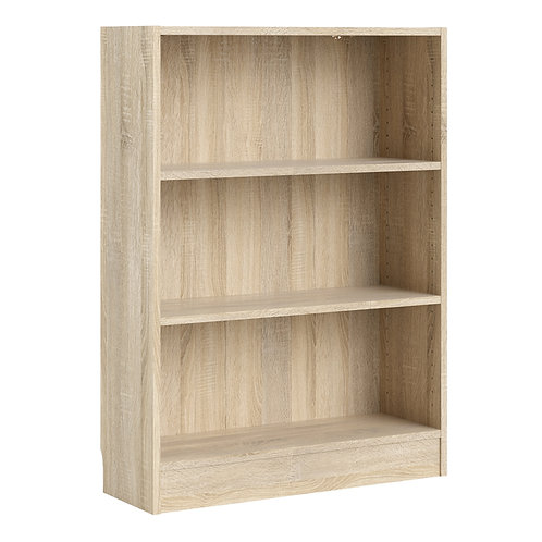 Basic Low Wide Bookcase 2 Shelves In Oak