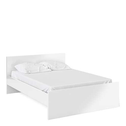 Naia Double Bed (140CM X 190CM) In White High Gloss