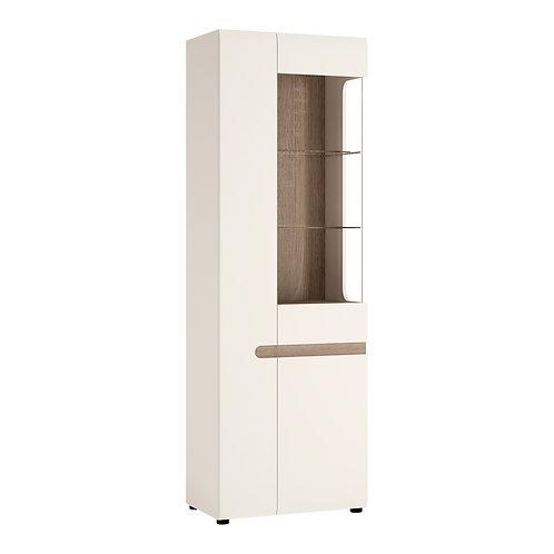 Tall Glazed Narrow Display Unit (LH) In White With An Truffle Oak Truffle Trim