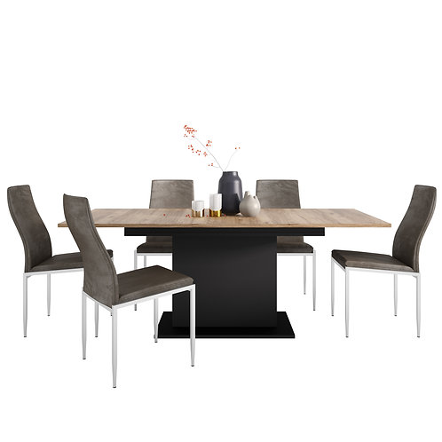 Brolo Extending Dining Table And 6 Milan High Back Chair Dark Brown