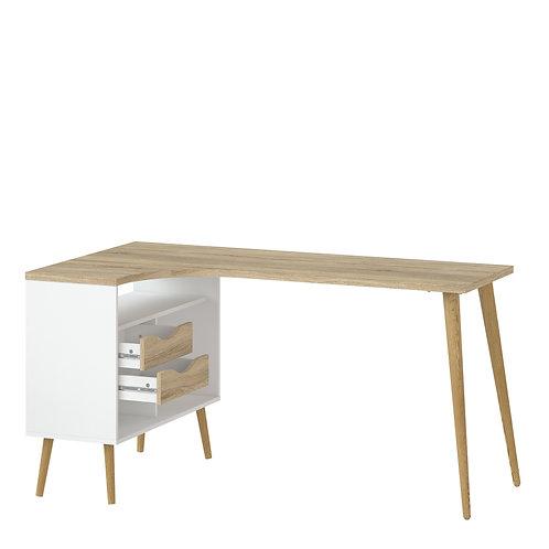 Oslo Desk 2 Drawer In White And Oak