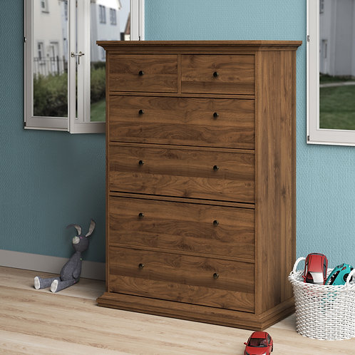 Paris Chest Of 6 Drawers In Walnut