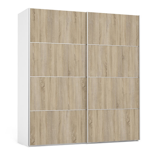Verona Sliding Wardrobe 180cm in White with Oak Doors and 2 Shelves