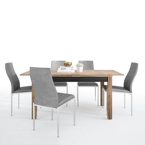 Havana Extending Dining Table + 4 Milan High Back Chair Grey.