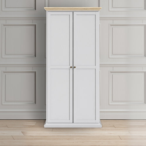 Paris Wardrobe With 2 Doors In White And Oak