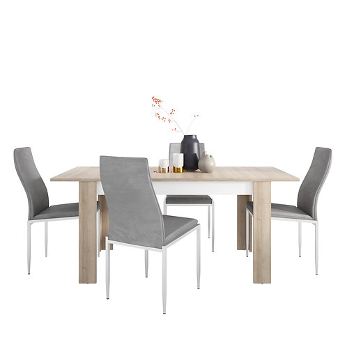Lyon Medium Extending Dining Table And 6 Milan High Back Chairs Grey