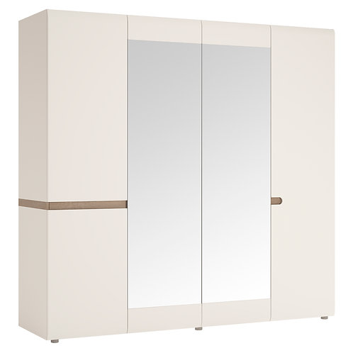 Bedroom 4 Door Wardrobe With Mirrors In White With An Truffle Oak Trim