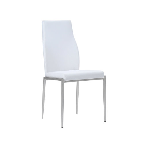 Milan High Back Chair White Faux Leather Set Of 2