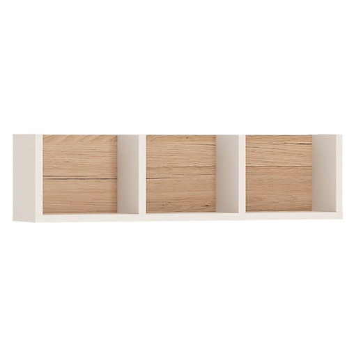 4Kids Sectioned Wall Shelf In Light Oak And White High Gloss 70 CM