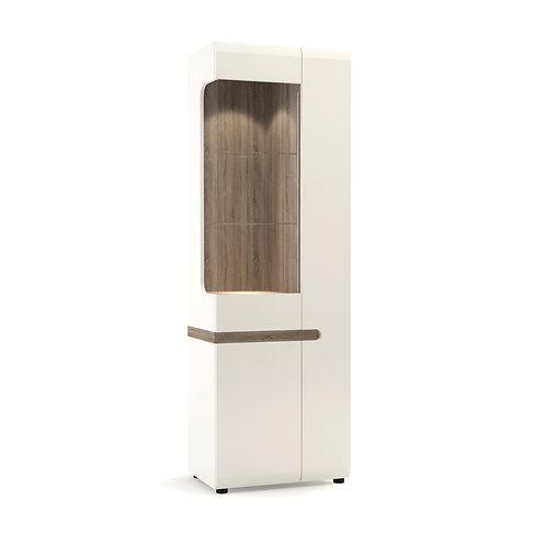 Tall Glazed Narrow Display Unit (RH) In White With An Truffle Oak Truffle Trim
