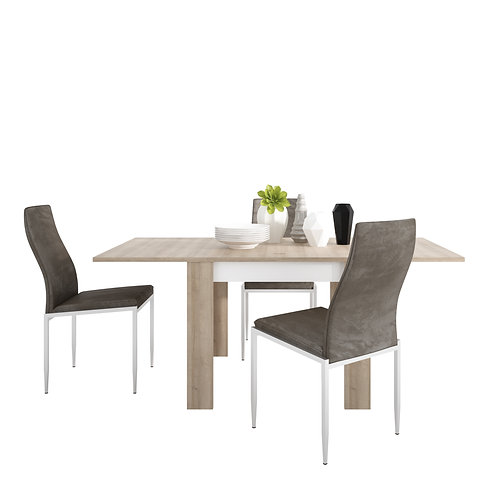 Lyon Small Extending Dining Table And 6 Milan High Back Chairs Dark Brown