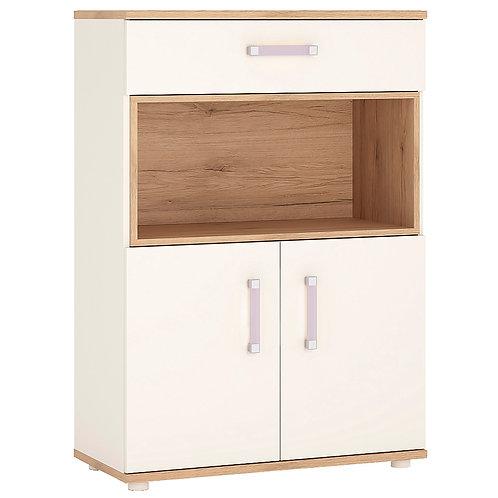 4Kids 2 Door 1 Drawer Cupboard With Open Shelf With Lilac Handles
