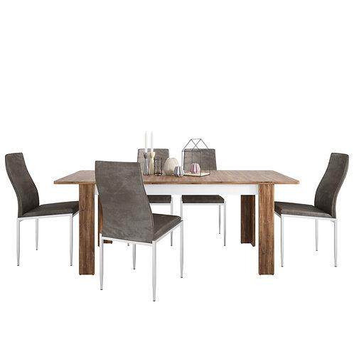 Toledo Extending Dining Table + 4 Milan High Back Chair Dark