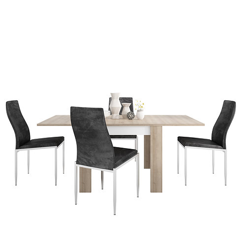 Dining set package Lyon Small extending dining table 90/180cm + 6 Milan High Bac