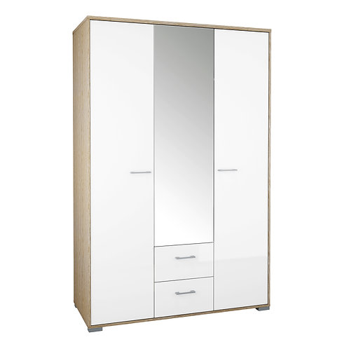 Homeline Wardrobe - 3 Doors 2 Drawers In Oak With White High Gloss
