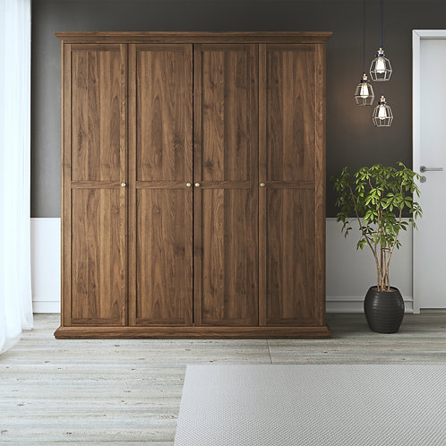 Paris Wardrobe With 4 Doors In Walnut