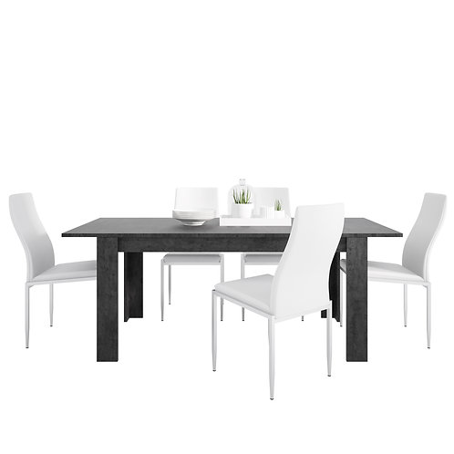 Zingaro With Dining Table And 4 Milan High Back Chairs White
