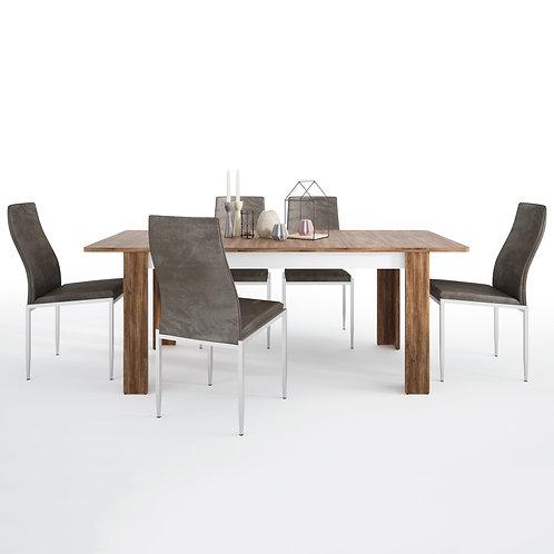 Toledo Extending Dining Table + 6 Milan High Back Chair Dark