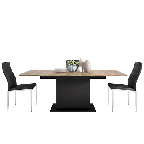 Brolo Extending Dining Table And 4 Milan High Back Chair Black