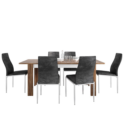 Toledo Extending Dining Table + 4 Milan High Back Chair Blac