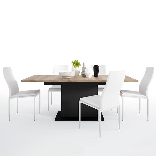 Brolo Extending Dining Table And 4 Milan High Back Chair White