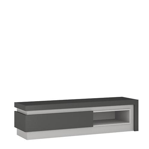 Lyon 1 Drawer TV Cabinet With Open Shelf In Platinum/Light Grey Gloss