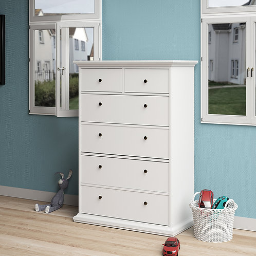 Paris Chest Of 6 Drawers In White