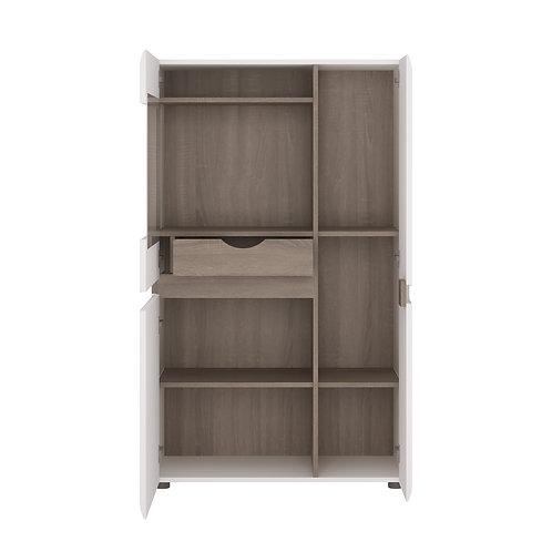 Chelsea Living Low Display Cabinet In White With An Truffle Oak Trim