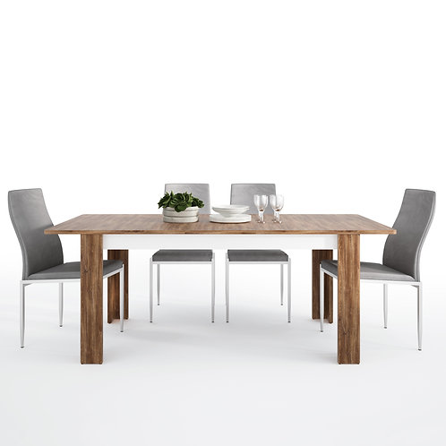 Toledo Extending Dining Table + 4 Milan High Back Chair Grey