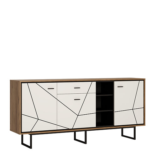 Brolo 3 Door 1 Drawer Wide Sideboard With The Walnut And Dark Panel Finish