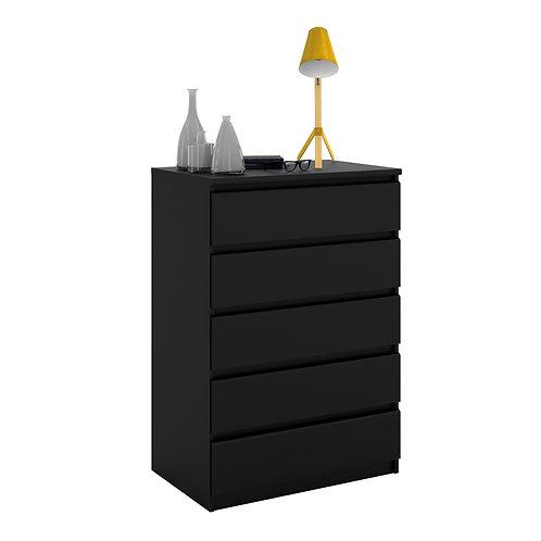 Naia Chest Of 5 Drawers In Black Matt