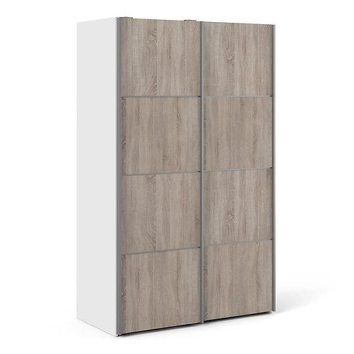 Verona Sliding Wardrobe 120CM In White With Truffle Oak Doors With 2 Shelves