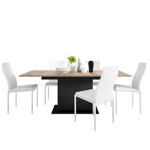 Brolo Extending Dining Table And 6 Milan High Back Chair White