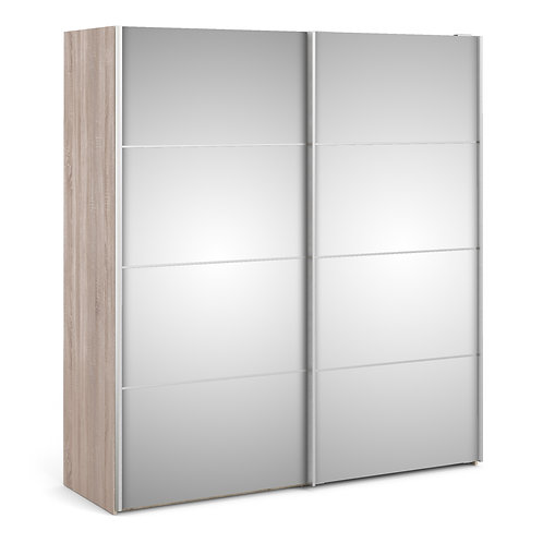 Verona Sliding Wardrobe 180cm in Truffle Oak with Mirror Doors and 2 Shelves