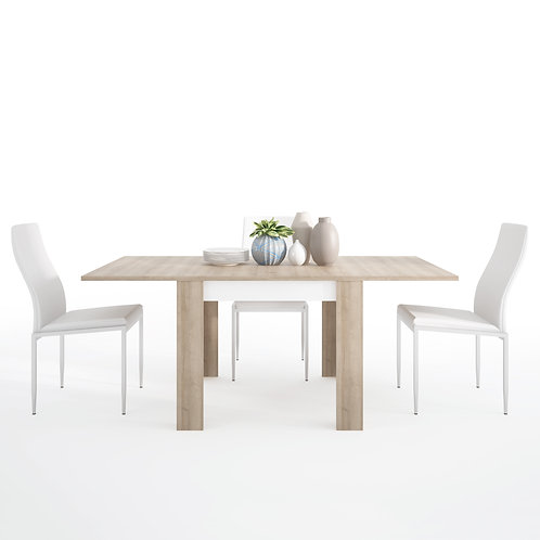 Lyon Small Extending Dining Table And 4 Milan High Back Chairs White