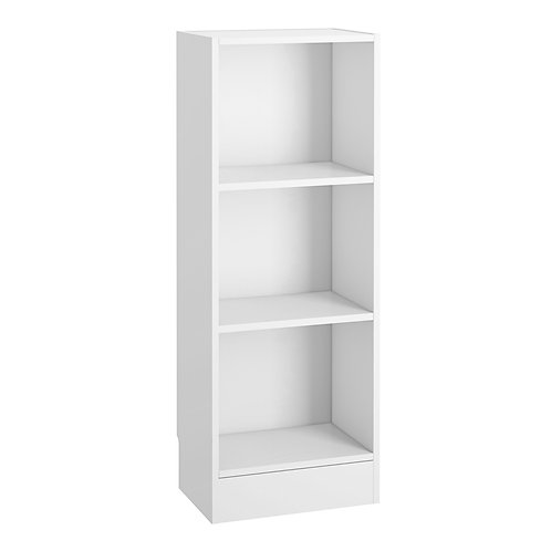 Basic Low Narrow Bookcase 2 Shelves In White