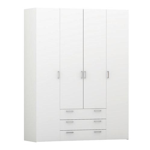 Space Wardrobe 4 Doors 3 Drawers In White