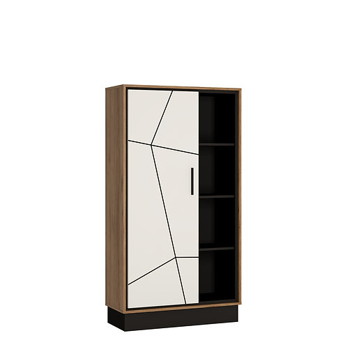 Brolo Wide 1 Door Bookcase With The Walnut And Dark Panel Finish