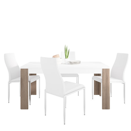 Toronto 160 CM Dining Table And 4 Milan High Back Chairs White