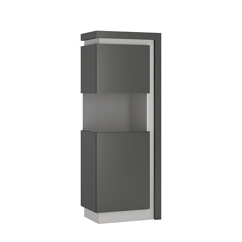 Lyon Narrow Left Handed Display Cabinet High In Platinum/Light Grey Gloss