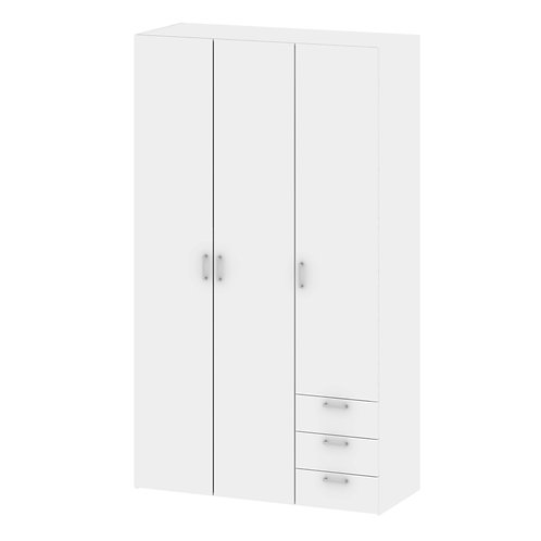 Space Wardrobe 3 Doors 3 Drawers In White
