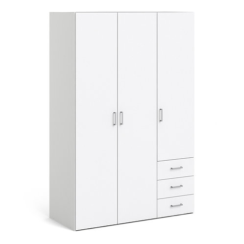Space Wardrobe With 3 Doors And 3 Drawers White