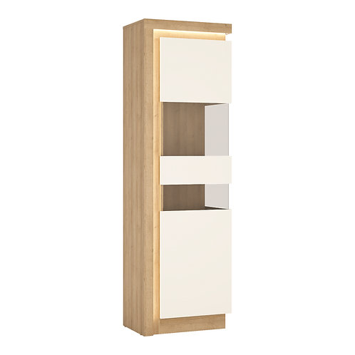 Lyon Tall Narrow Right Handed Display Cabinet In Riviera Oak/White High Gloss
