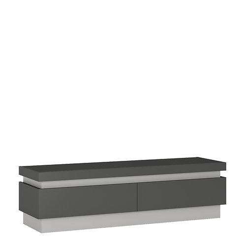 Lyon 2 Drawer TV Cabinet In Platinum/Light Grey Gloss