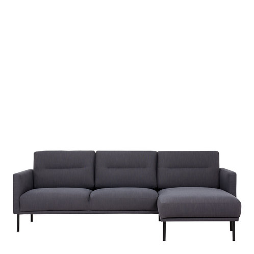 Larvik Chaiselongue Right Handed Sofa Antracit With Black Legs
