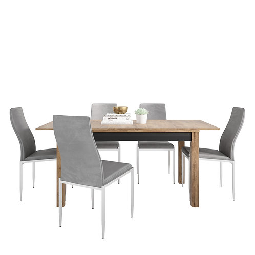 Havana Extending Dining Table + 6 Milan High Back Chair Grey.