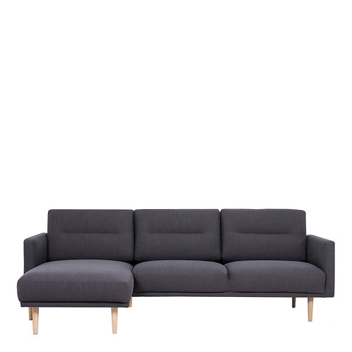 Larvik Chaiselongue Left Handed Sofa Antracit With Oak Legs